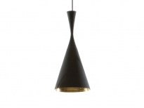 - Tom Dixon Beat Shade Tall Hanglamp Zwart/Messing