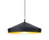 - Tom Dixon Beat Shade Flat Hanglamp Zwart/Messing
